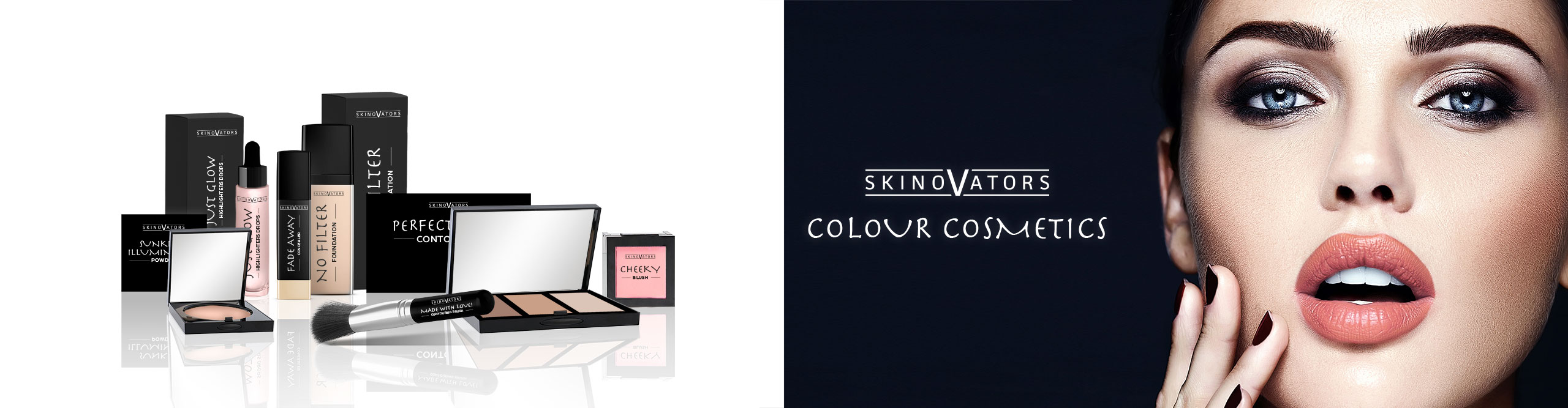 Private label Colour Cosmetics: Powder, Make-up foundation, blush and beauty tools.